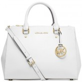 MK0001_Michael Kors medium leather satchel, white